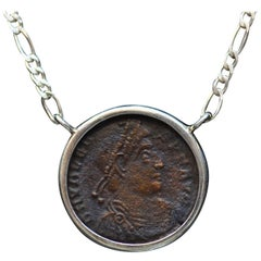 Valentinian I Roman Coin Silver Necklace