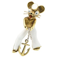 1970s Enamel Mouse Sailor Gold Brooch by Martine