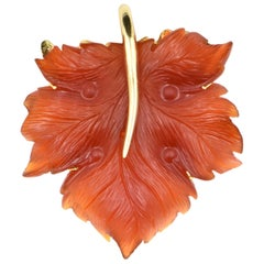 Hand Carved Carnelian Leaf Gold Pendant Brooch by Somos Creations