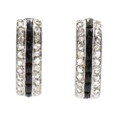 Art Deco Onyx and Diamond Platinum Hoop Earrings