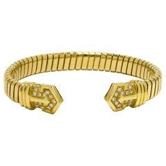 Bulgari Diamond Flexible Link Cuff Bangle Bracelet Bvlgari Estate Retired 1970s