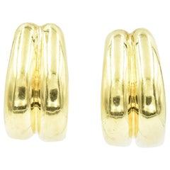 Shiny Finish Double Hoop Gold Earrings