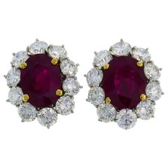 9.49 Carat Burmese Ruby Diamond Gold Earrings