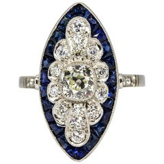Platinum Antique Diamond and Calibrated Cut Sapphires Ring