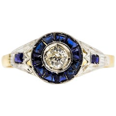 Art Deco 18 Karat Gold and Platinum Diamond and Sapphires Ring
