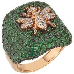 Bee Goddess Rose Gold White Diamond and Tsavorite Bee Ring