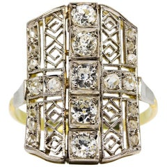 Art Deco 18 Karat Gold and Platinum Diamonds Ring