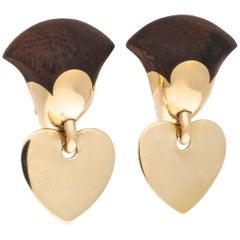 Van Cleef & Arpels Wood Gold Heart Earrings