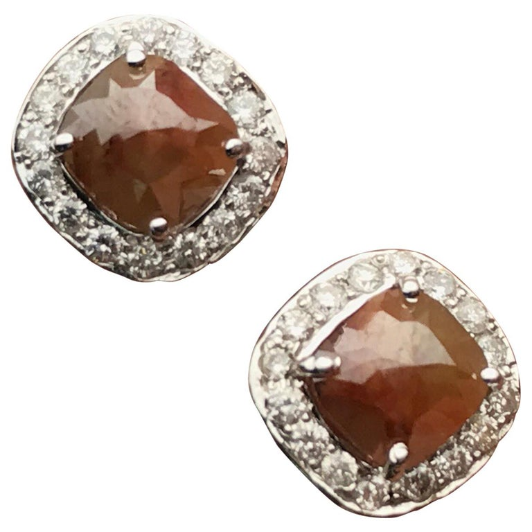 Brown Diamond 18 Karat White Gold Stud Earrings For Sale At 1stdibs