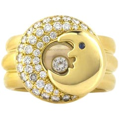 Chopard Happy Diamonds Floating Moon Ring with Sapphire Eye