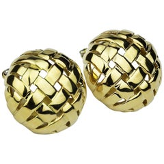 Tiffany & Co. Vannerie Basket Weave Clip-On Earrings in 18 Carat Yellow Gold