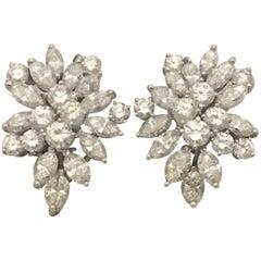 Impressive Platinum Diamond Cluster Earrings