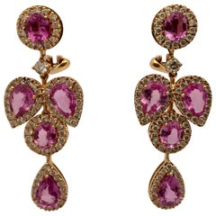 Feminine Chandelier Rose Gold Earrings with Pink Sapphire and Diamonds
