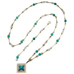 Louis Vuitton Malachite Diamond Pendant Chalcedony and Gold Chain Necklace