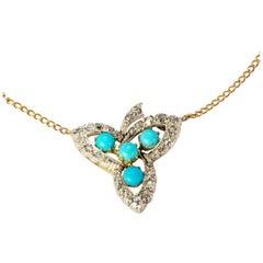 Victorian 18 Karat Gold Turquoise and Diamond Leaf Pendant
