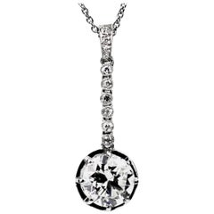 Certified Edwardian Old European Cut Diamond Solitaire Pendant 2.06 Carat I, VS2