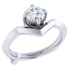 GCAL Certified 18 Karat Gold and 0.76 Carat Diamond Secret Promise Ring, Alessa