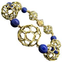 Chaumet Paris Lapis Lazuli Beads Textured Yellow Gold Bangle Bracelet