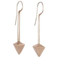 Vintage Indian Tribal Silver Pyramid Earrings