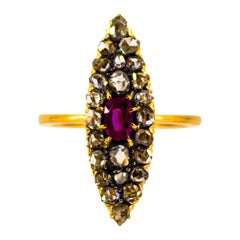 Renaissance 1.00 Carat White Diamond 0.50 Carat Ruby Yellow Gold Cocktail Ring