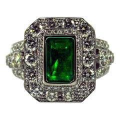 Art Deco 3.05 Carat Emerald 3.52 Carat White Diamond White Gold Cocktail Ring