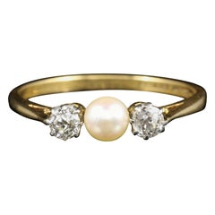 Antique Edwardian Diamond Pearl Trilogy Ring, circa 1915 18 Carat Gold Plated