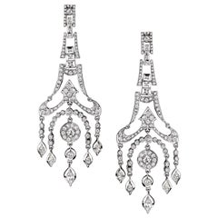 Diamond Chandelier Earrings in 18 Karat White Gold