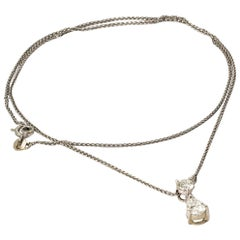 1950s Pear Diamond White Gold Necklace