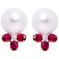 Ella Gafter Ruby South Sea Pearl Diamond Earrings Flower