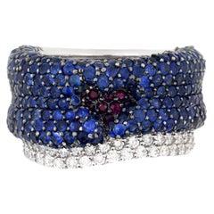 Stambolian Blue Sapphire Diamond Ruby White Gold Band Heart Ring