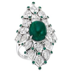 Cabochon Emerald and Pear Shape Diamond Cluster Ring