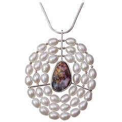 Sterling Silver Freshwater Pearl and Australian Boulder Opal Pendant