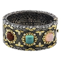 Stambolian Silver Gold and Diamond Cuff Bracelet with Chalcedony