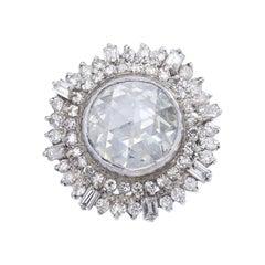 Oversize Antique Rose Cut Diamond Indian Ring