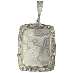 Tube Agate Pendant with .21 Carat Diamonds in 14 Karat White Gold