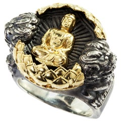 Stambolian Silver Gold Buddha Ring with Two Lions