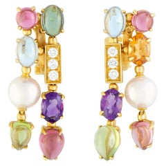 Bulgari Allegra Diamonds Pearl and Multiple Gemstones Yellow Gold Omega Earrings