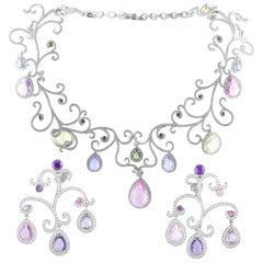 Chopard High Jewelry Diamond Gemstone White Gold Collar Necklace and Earring Set