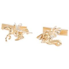 George and Dragon Cufflinks in 18 Karat Gold Vermeil