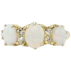 Victorian Yellow Gold Opal and Diamond Ring