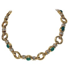 18 Karat Emerald and Diamond Necklace