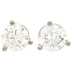 14 Karat White Gold Round Brilliant Cut Diamond Stud Earrings 1.29 Carat SI1/H
