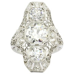 Art Deco Platinum Diamond 2.82 Carat Shield Ring
