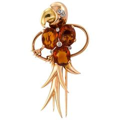Retro Citrine Gold Parrot Brooch