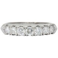 Vintage 0.75 Carat 7 Diamond Platinum Stackable Ring