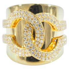 Diamond Ring Wide Yellow Gold 18 Karat 1.29 Carat