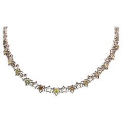18 Karat Multi-Color Diamond Necklace