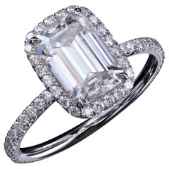 Leon Mege Emerald-Cut Moissanite and Diamond Micro Pave Halo Engagement Ring