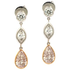 Natural Pink Diamond Drop Earrings