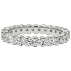 Retro 1.30 Carat Diamond Platinum Eternity Band or Stackable Ring